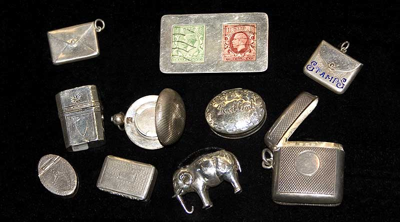 Antique Vestas, Stamp Cases and Pin Cusions from Esme Camden Passage